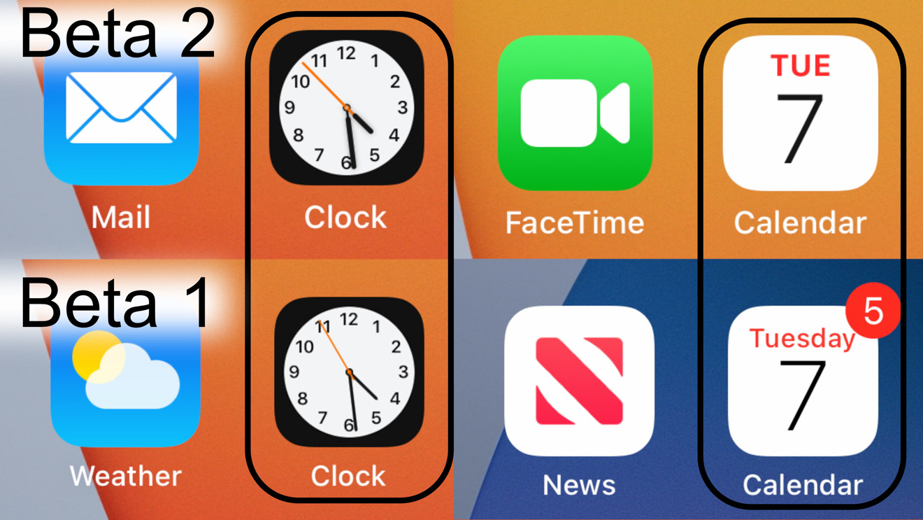 New clock and Calendar icons in iOS 14 beta 2