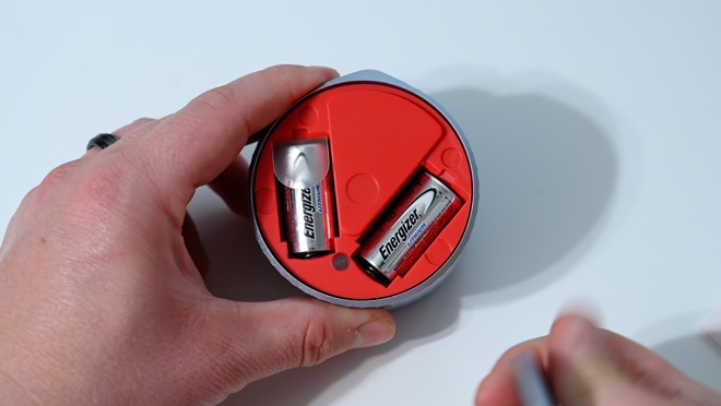A pair of CR123 batteries in the August Wi-Fi Smart Lock