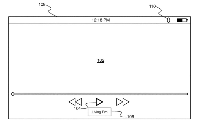 Detail from one of the patent applications showing familiar playback controls plus an indication of where the video is being streamed