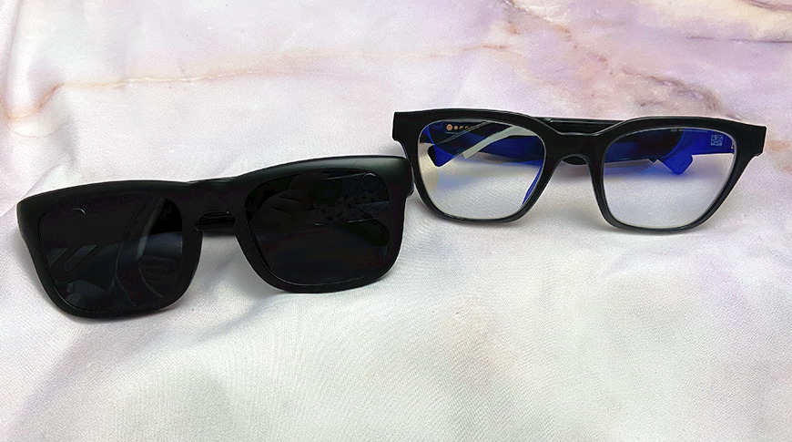 Left: Evutech's audio glasses, Right: Bose Frames   Note: The Bose Frames lenses were replaced by owner