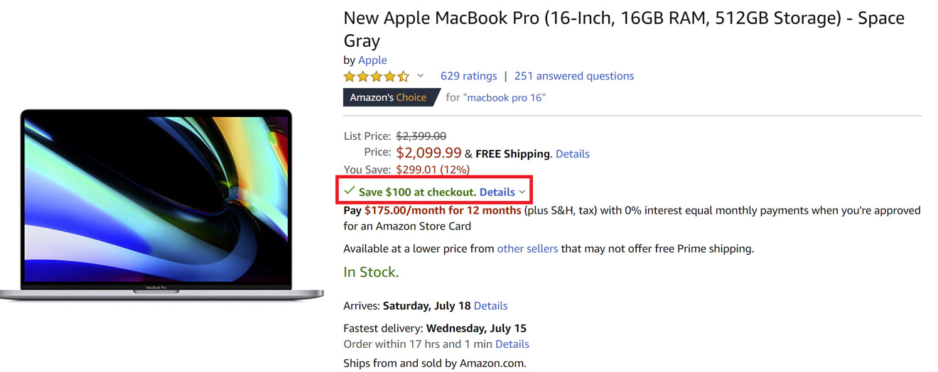 Amazon MacBook Pro savings
