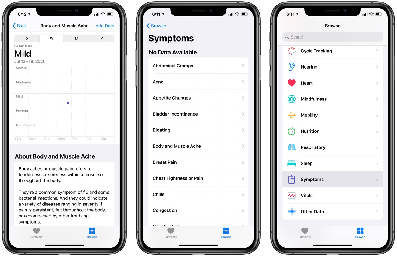 New symptoms tracking in the iOS 13.6 Health app