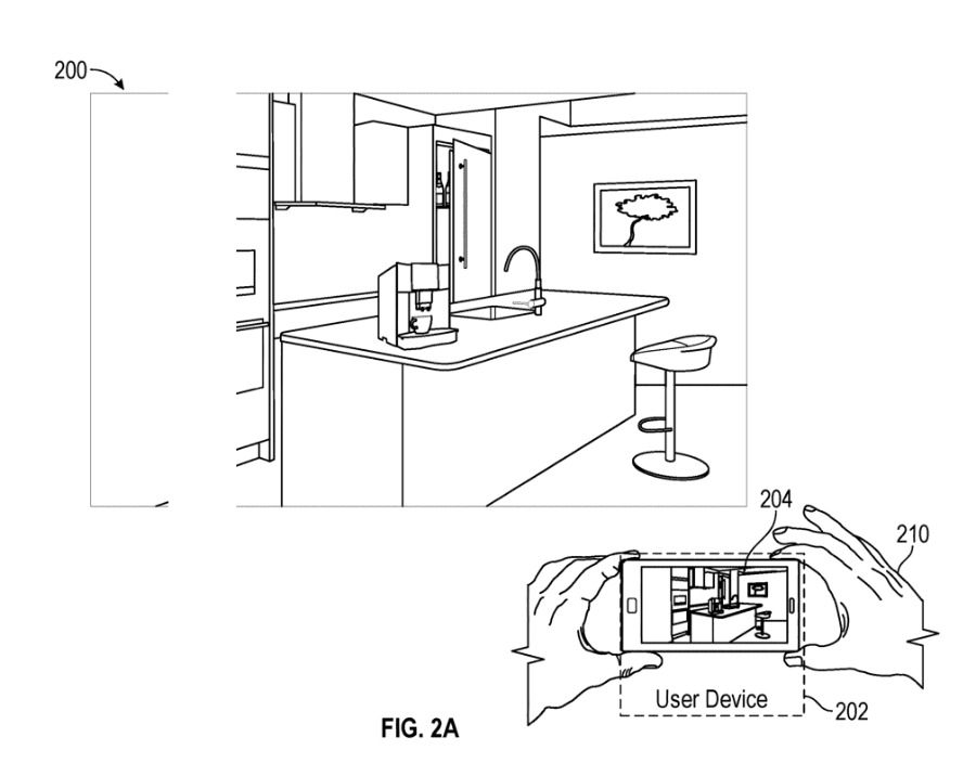 Detail from the patent application showing a real-world environment being mapped to allow positioning of virtual objects