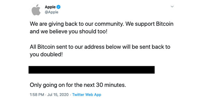 The now-deleted tweet from Apple's Twitter account