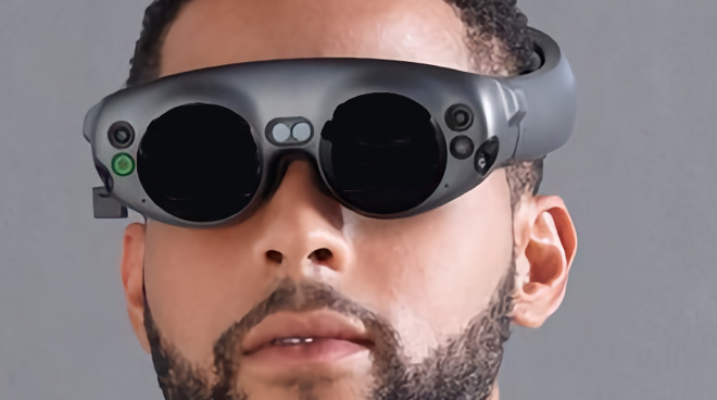 Mockup (using Magic Leap One Lightwear AR goggles) of how Apple's Peril-Sensitive, aka physiological-measuring, glasses could be