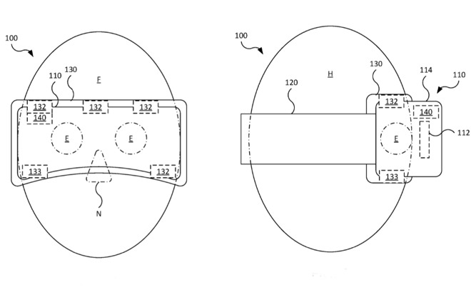 Detail from the patent showing a possible arrangement of sensors on a head-mounted device such as