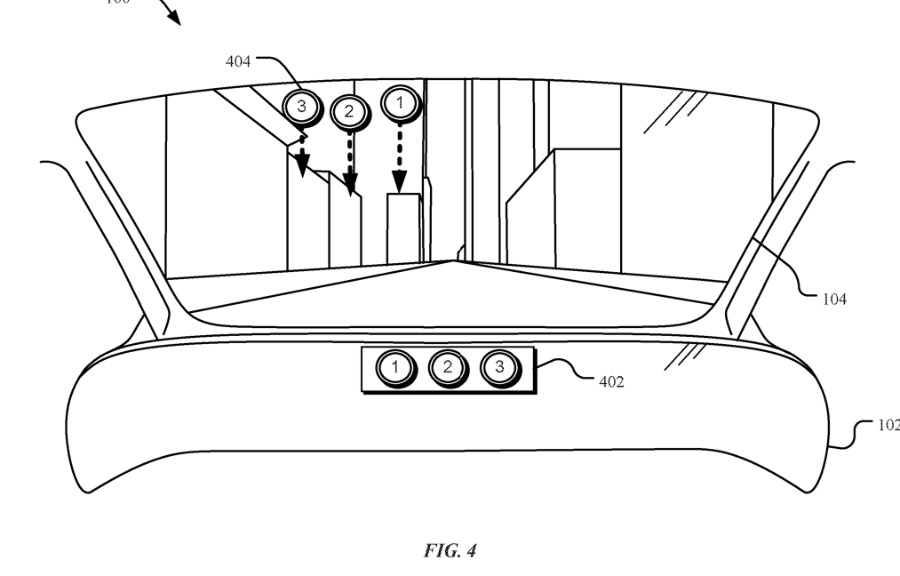 Detail from Apple's latest patent application regarding AR in the Apple Car's windshield