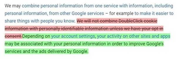 Text changes in Google's Privacy Policy (via ACCC)