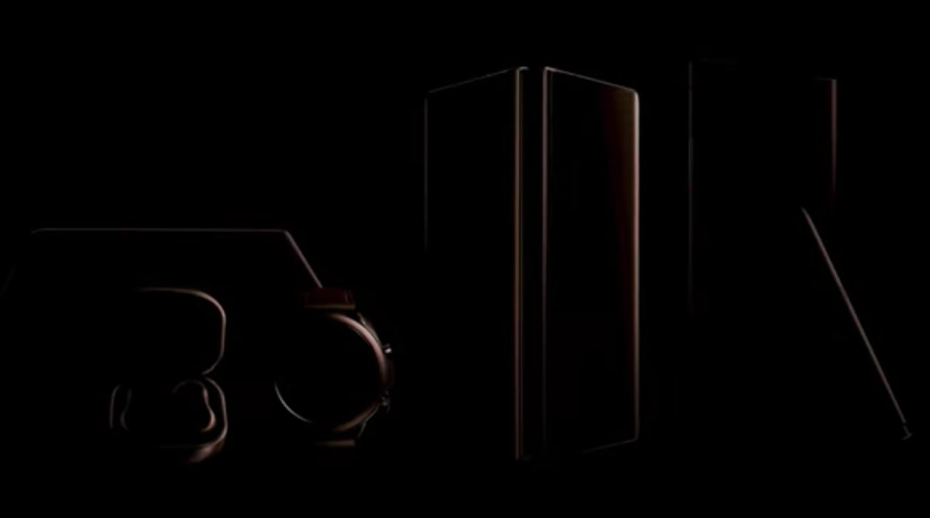 Dark outlines of devices, as seen in the Unpacked 2020 teaser.