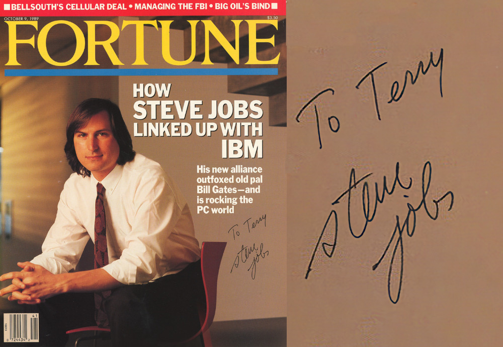 Left: the full cover. Right: close up on the autograph