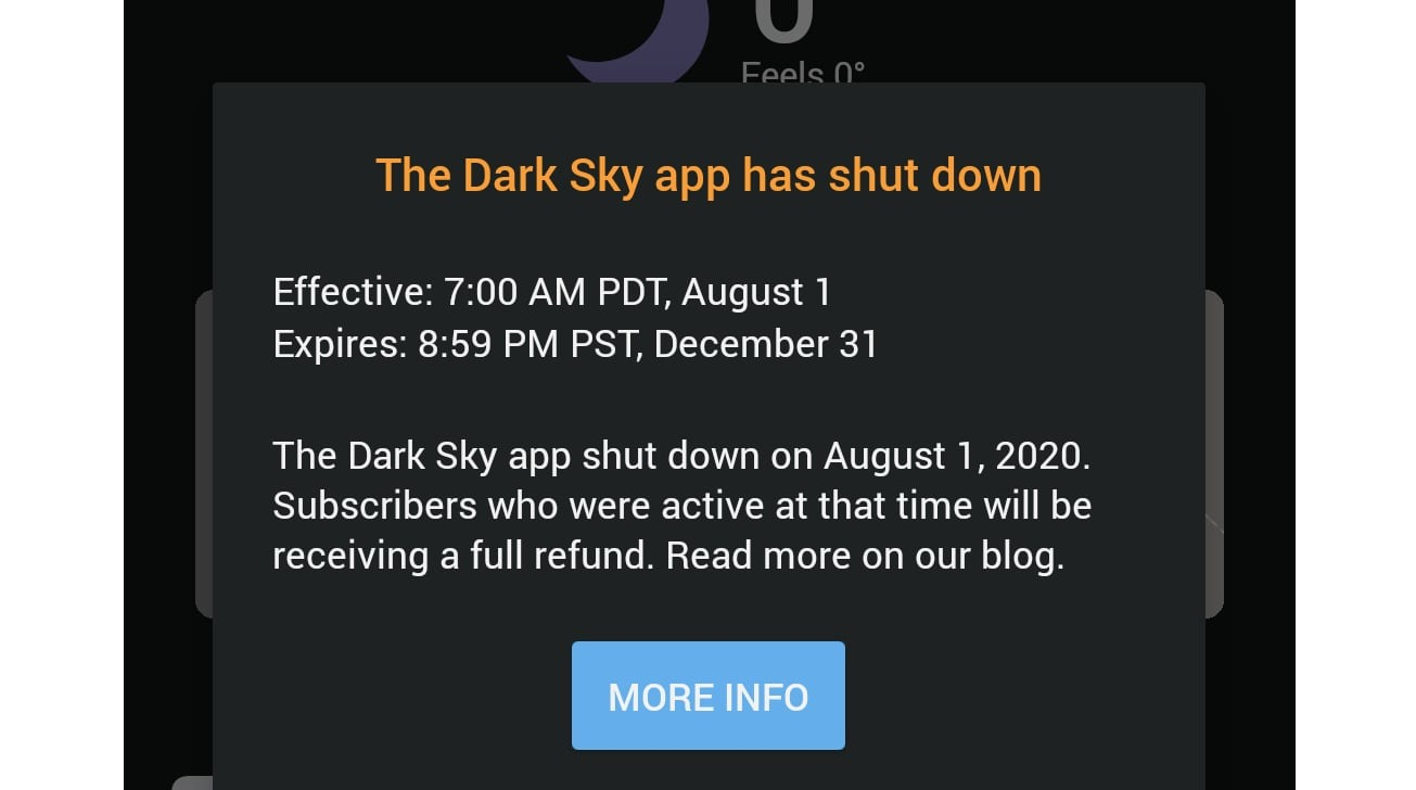 Dark Sky's in-app sunset message for Android users. (via 9to5Google)