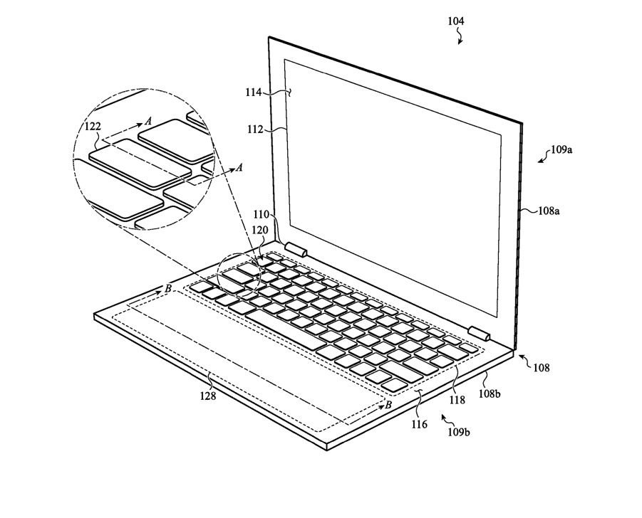 One example of a wide dynamic trackpad