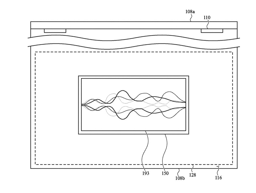 Detail from the patent showing show Siri could display on the trackpad