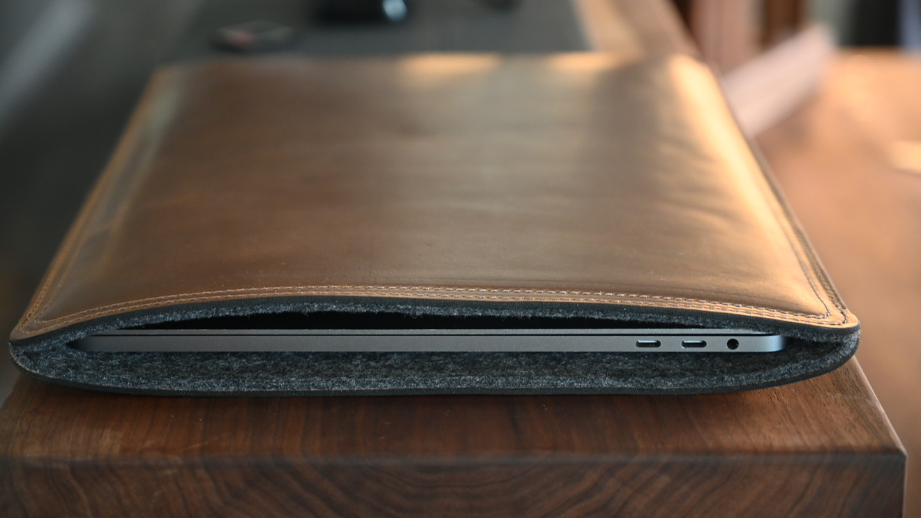 Clayton and Crume leather MacBook Pro sleeve offers solid protection