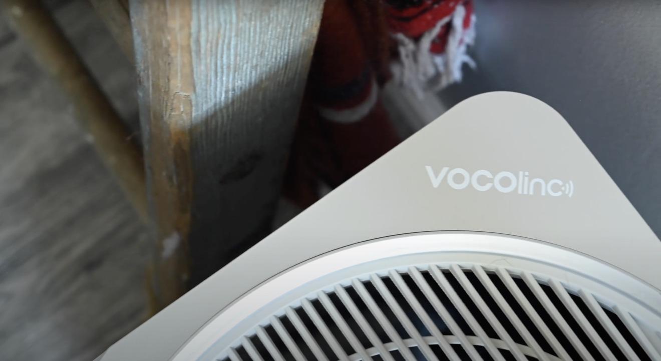 The VOCOlinc logo on the PureFlow air purifier
