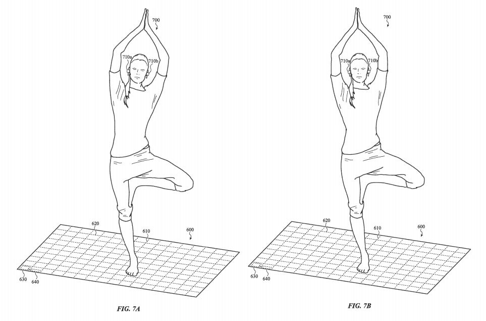 The patent mentions monitoring the balance of a user doing yoga.