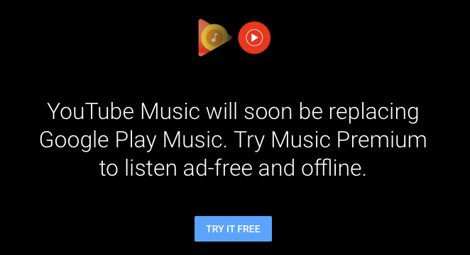 New users attempting to subscribe to Google Play Music are being redirected to YouTube Music