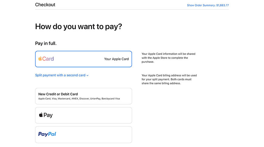 photo of Online Apple Store adds dedicated Apple Card payment option image