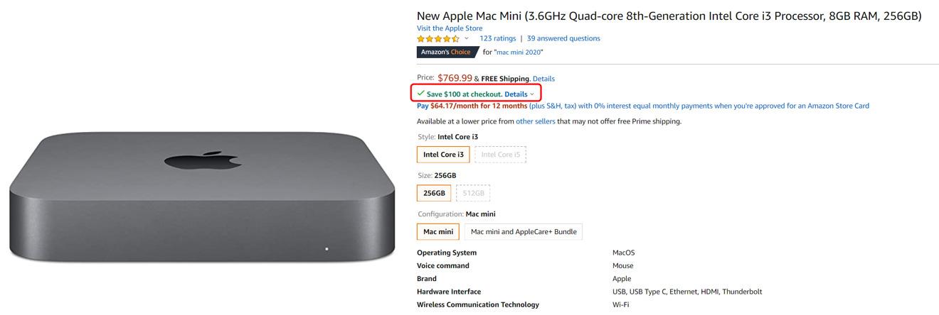 Amazon Mac mini bonus savings