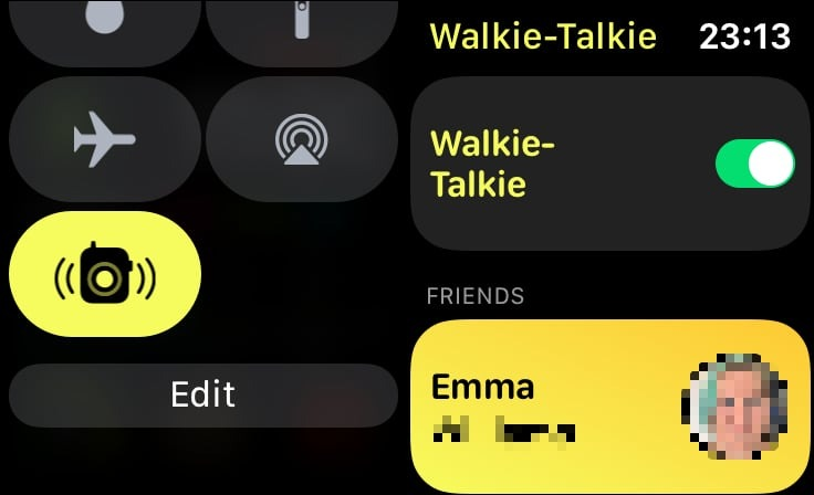 The on-off toggle and Control Center button to enable and disable Walkie-Talkie on the Apple Watch