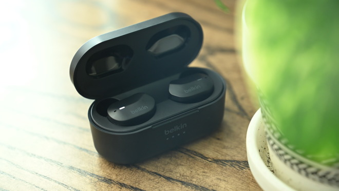 Belkin Soundform True Wireless earbuds in their case