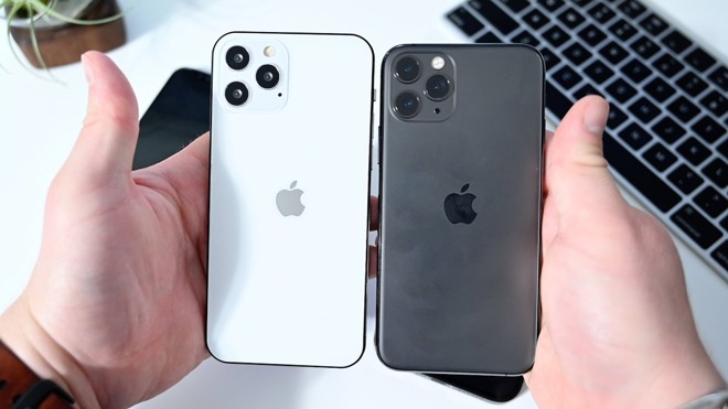 A dummy 'iPhone 12' compared to an iPhone 11. Credit: AppleInsider