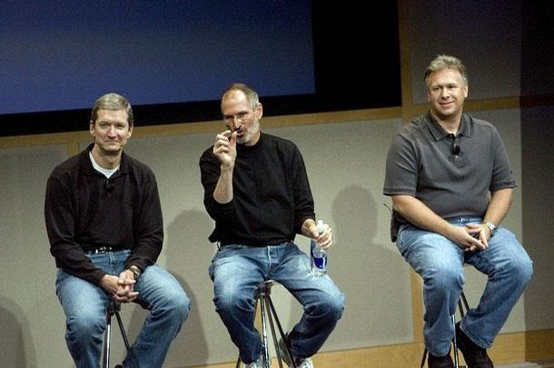 Tim Cook with Steve Jobs and Phil Schiller