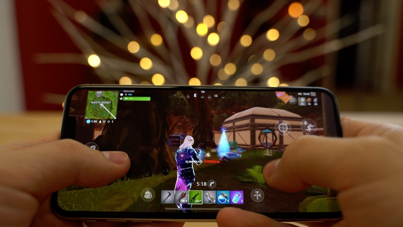 Fortnite played on an iPhone