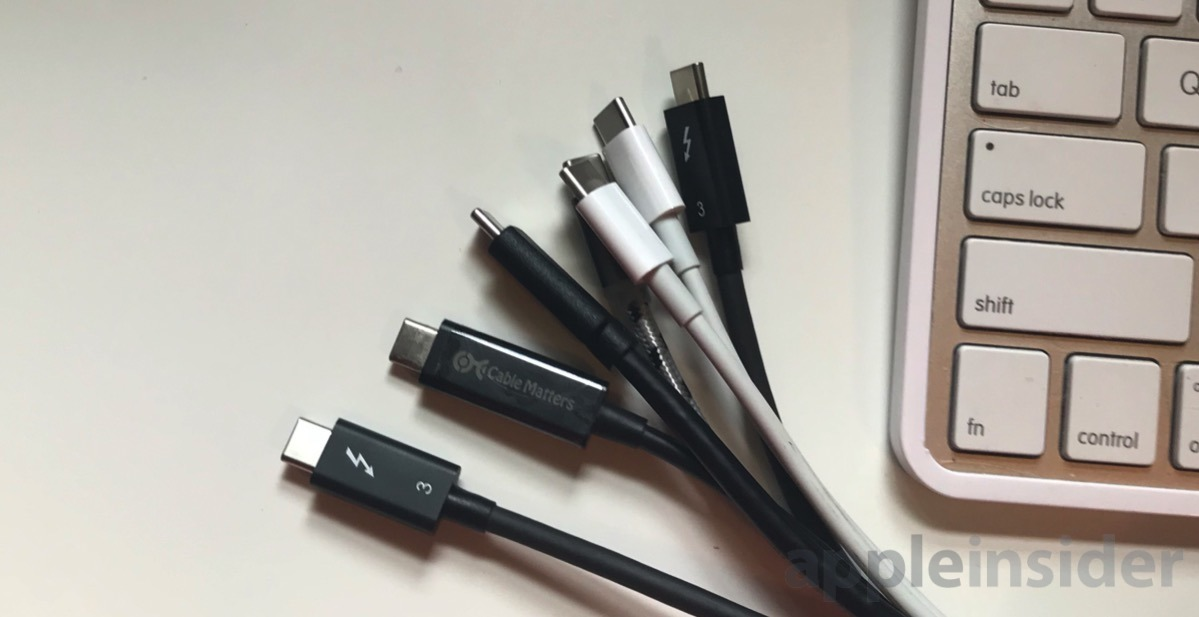 A collection of Thunderbolt 3 and USB 2.0 Type-C Apple charging cables