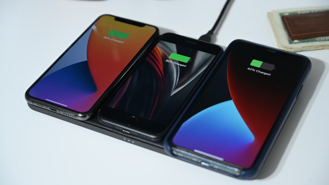 Charging three iPhones on Base Station Pro