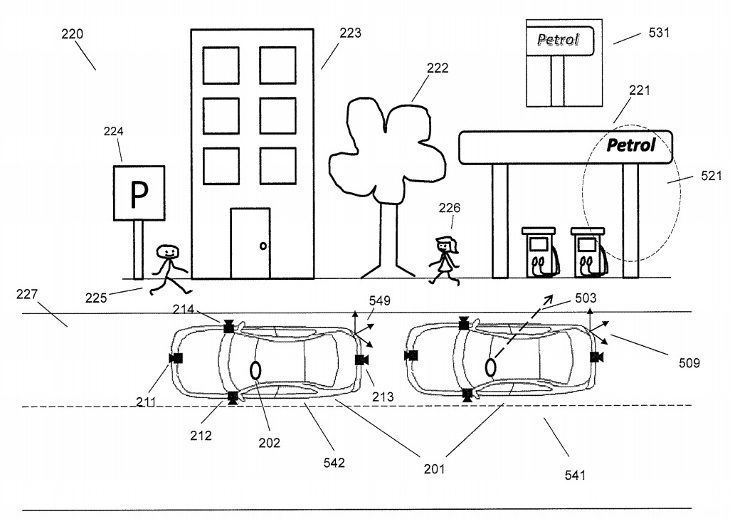 The patent suggests a user's gaze could tell the external cameras where to photograph.