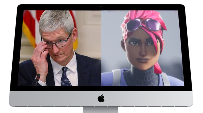 Shown on the new 27-inch iMac. Left: Tim Cook. Right: A shot from Epic Games's