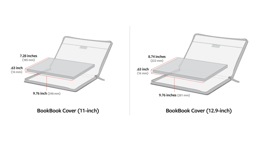 Size charts for the BookBook Cover