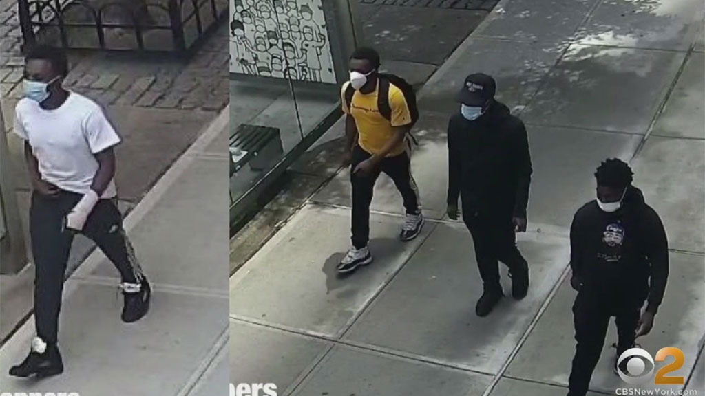 Some of the suspects believed to be behind the theft spree (via NYPD Crime Stoppers / CBS)