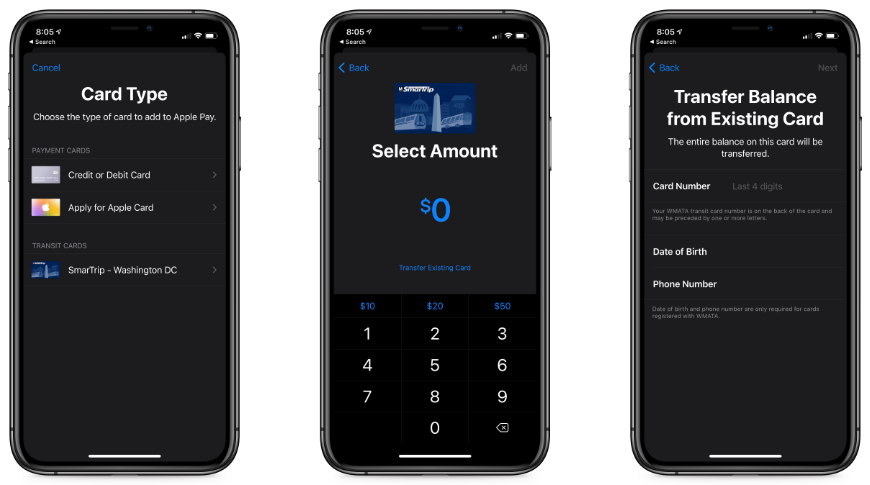 New option in adding a card in Apple Wallet for a quick and easy setup
