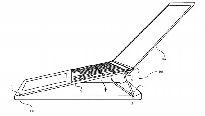 The hinge mechanism could raise the entire top surface of the MacBook up to a better typing angle.
