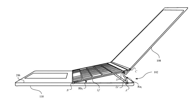 Another version could raise the keyboard and display, while keeping the trackpad flat.