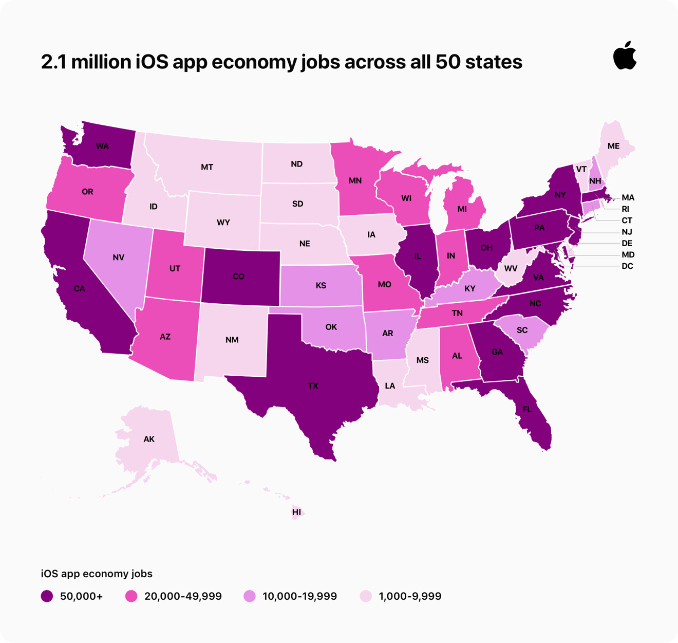 App economy jobs across the United States —  image credit Apple