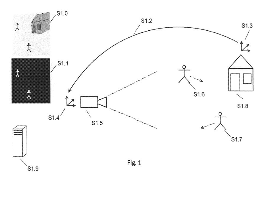 Detail from the patent showing a method of using thermal imaging to assist AR