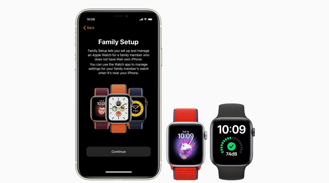 The two sizes of Apple Watch Series 6 and Apple Watch SE next to an iPhone running Family Setup.