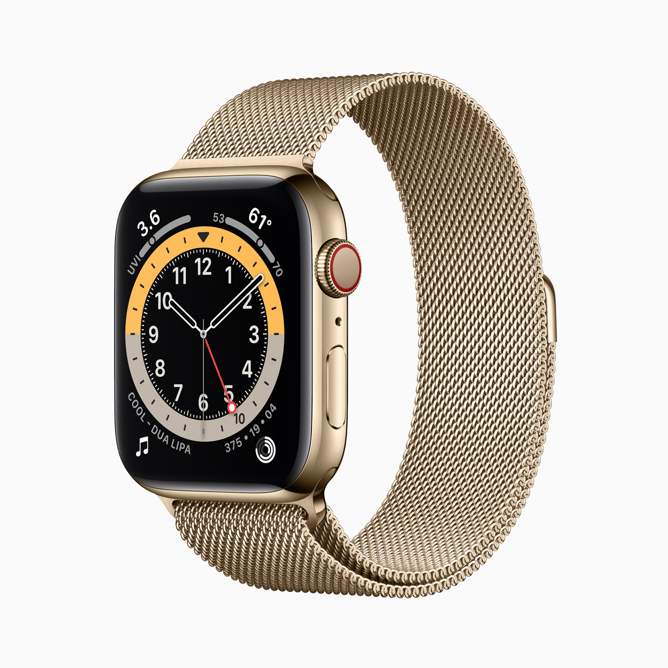 The Apple Watch Series 6 in a Stainless Steel gold-colored case.