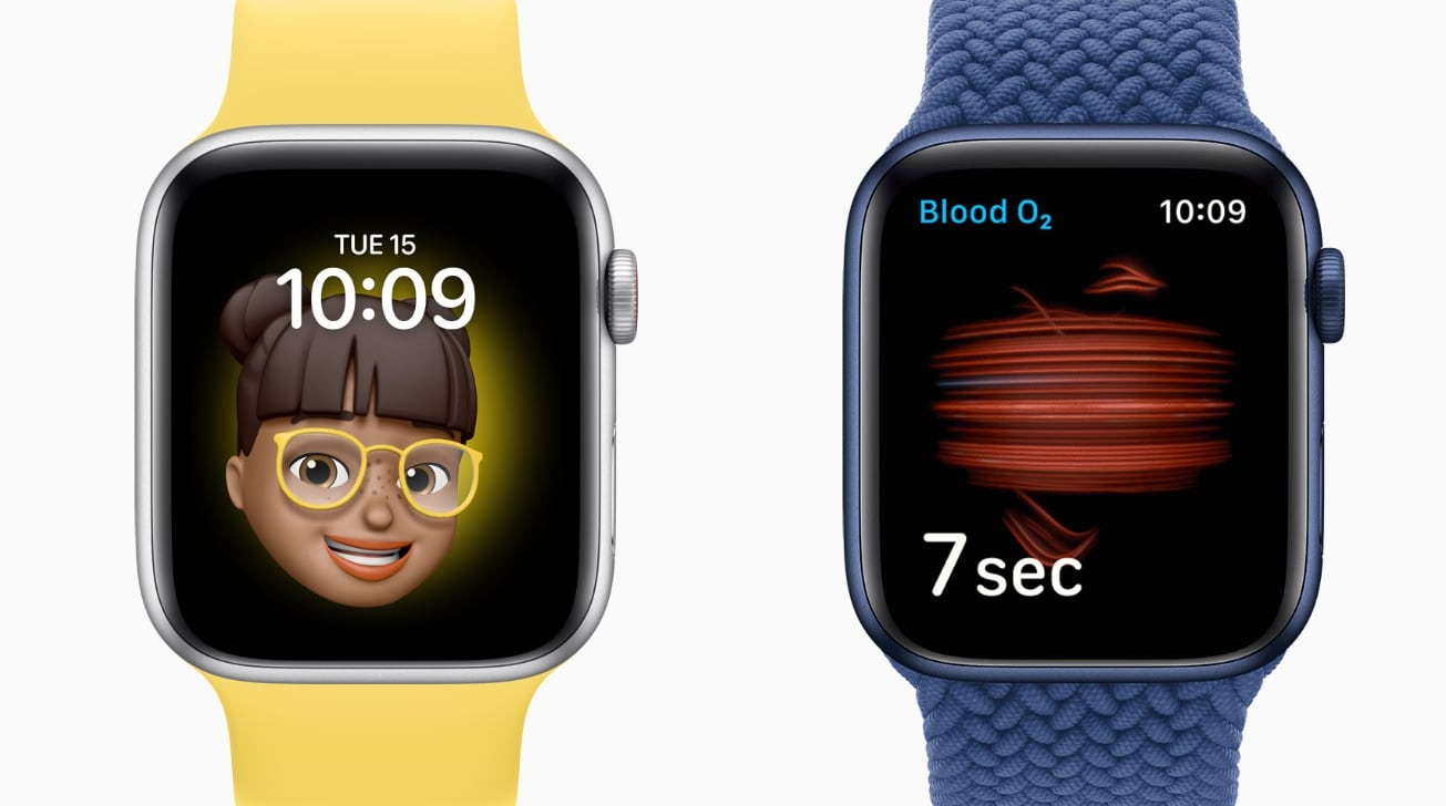 Memoji faces and the Blood Oxygen app.