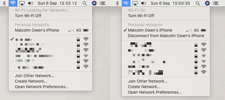 Connection and disconnection of a Personal Hotspot on macOS is relatively simple.