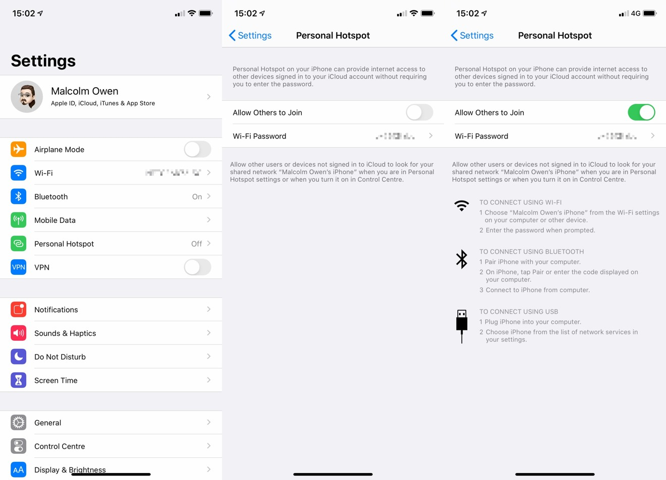 Enabling the Personal Hotspot in iOS.