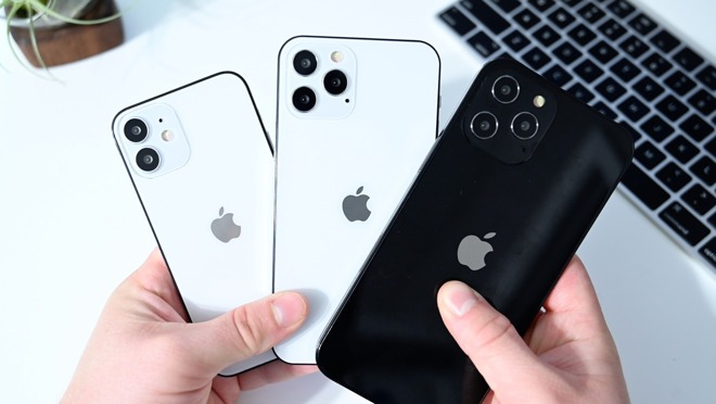 A collection of dummy iPhones suggesting what the 'iPhone 12' range could look like.