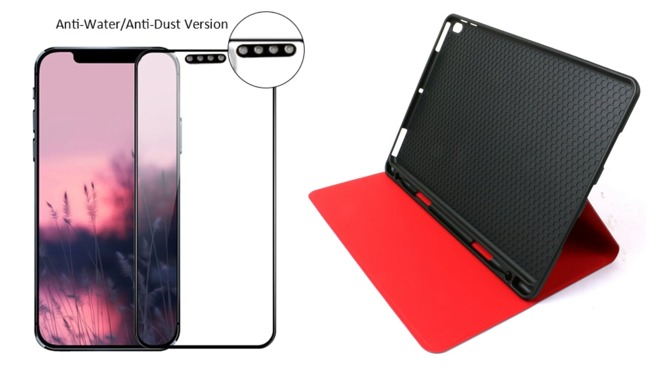 An accessory producer's 'iPhone 12' display protector and '10.8-inch' iPad case
