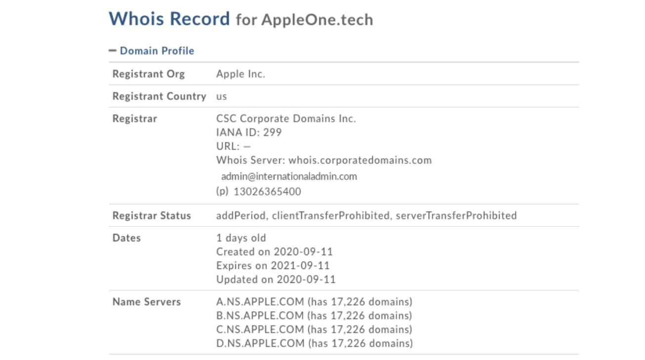 Domain registration details for AppleOne.tech