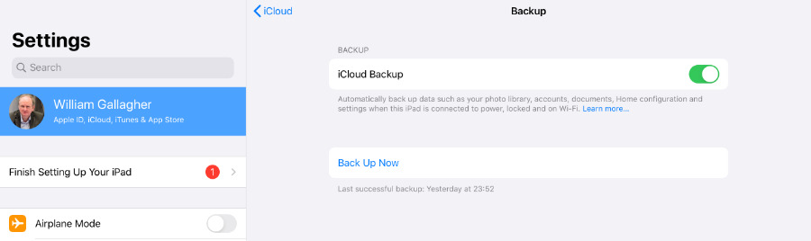 Backup your old iPad to iCloud