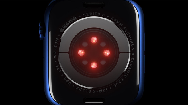 Apple uses red and infrared light to monitor the oxygen saturation of a user's blood. Credit: Apple