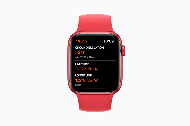New altimeter data on a PRODUCT(RED) Apple Watch Series 6. Credit: Apple